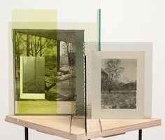 """Begin Afresh"" (2013) Abigail Reynolds. Glass, Book Pages, Plywood, Steel Stand.  420W 450D 445H (mm). (two views)"