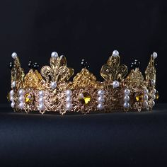 GIOVANNI Gold Male Crown Dolce Crown Medieval Men Crown Gold Dolce Male Crown Royal King Pageant Crowns For Men  Fantastic hair accessories for theather production, parties proms or other special occasions  - Metal, full round - Handmade - Size: 6cm (2.3) high. - Crown (full round) - **100% FULL MONEY BACK GUARANTEE** Unlike others sellers, WE STAND behind our brand ILoveCrowns and provide 100% FULL MONEY BACK guarantee, if, For Whatever Reason, You dont Absolutly Love your jewelry, just…