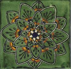 Green Peacock Flower Talavera Mexican Tile