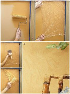 40 DIY Plastic Bag Recycling Projects is part of Wall painting techniques - Just take some inspiration from the above ideas and start creating your DIY Plastic Bag Recycling Projects and designing them to be the masterpiece now! Diy Wall Painting, Faux Painting, House Painting, Diy Wand, Diy Interior, Paint Finishes, Paint Designs, Textured Walls, Painting Techniques