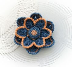 HAND CROCHET BROOCH APPLIQUE DENIM BLUE OHRA YELLOW ACRYLIC FLOWER | eBay