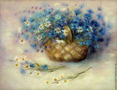 Купить Васильки и ромашки (2) картина из шерсти - разноцветный, картина из шерсти, картина с васильками