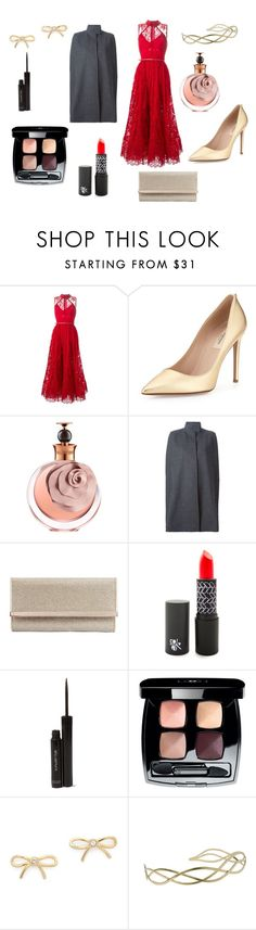 """red"" by sveta93 on Polyvore featuring Elie Saab, Valentino, STELLA McCARTNEY, Jimmy Choo, shu uemura, Chanel, Kate Spade, Urbanista, women's clothing and women"