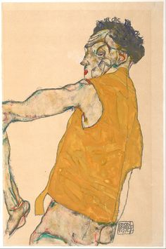 Egon Schiele - Self-Portrait in Yellow Vest, 1914, Opaque color, pencil on Japanese vellum, 48.2 x 32 cm, Albertina, Vienna