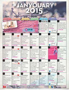 Printable: Blogilates January 2015 workout calendar. Password: thisismyyear