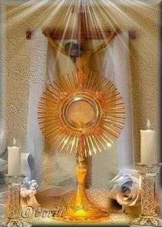 ¡Oh Señor nuestro Sacramentado! Míranos aquí en tu adorable presencia. Venimos a bendecirte y alabarte en unión de los ángeles que invisiblemente rodean esa Hostia Divina.