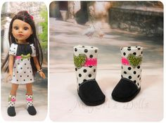 14 Dolls Hearts 4 Hearts Doll Boots Black and by MegOrisDolls
