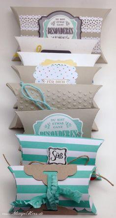 Stampin Up - Stempelherz - Pillowbox - Verpackung - Groessenvergleich Pillowboxen 01 (mit Anleitung)
