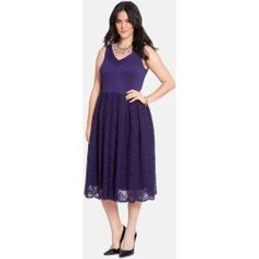 Plus Size Women's ELOQUII V-Neck Fit & Flare Party Dress, Size 16W - Purple