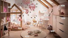 Urządź pokój dla dziewczynki! - Allegro.pl Small Girls Bedrooms, Big Girl Rooms, Study Room Decor, Baby Room Decor, Bedroom Decor For Couples, Diy Bedroom Decor, Toddler Rooms, Toddler Bed, Couple Bed