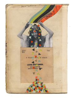 Full of Stars -  original collage on book cover by Holly Chastain on Etsy.