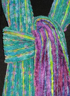 Faux Chenille Scarves (Turquoise & Lavender) - Rayon fabrics, cut on the bias, are used to create these faux chenille scarves.