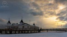 Die Seebrücke Ahlbeck am Wintermorgen.