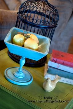 Teal Pedestal Bowl