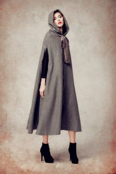 Wool cloak coat, grey wool coat, wool jacket, wool hooded coat, hoodie coat, wool hooded cloak in black, red, purple, blue and green by camelliatune on Etsy https://www.etsy.com/listing/246232710/wool-cloak-coat-grey-wool-coat-wool