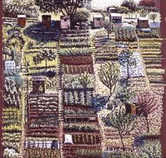 Cath Read, Allotment Tapestry take photos of gardens in watershed Garden Painting, Garden Art, Fields In Arts, Summer Art Projects, Garden Illustration, Creative Textiles, Acrylic Artwork, Contemporary Embroidery, Country Art