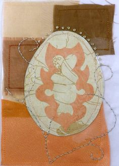 Easter eggs inspirational gift mixed media artist book promise handmade easter hostess gift paper cut easter egg decoration embroidery on orange fabric mixed media negle Choice Image