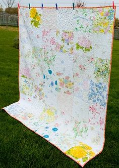Lovely, large block quilt of vintage sheets ... could be so cute as a picnic blanket! Or in a guest room