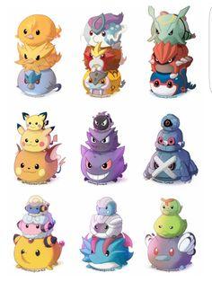 Pokémon, evolutions, legendary Pokémon, cute, piles, balls, chibi; Pokémon tsum tsum