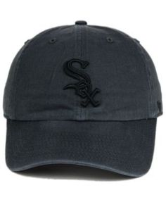33dcd95d99a ... 47 brand chicago white sox charcoal clean up cap black adjustable.