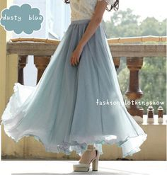 Hey, I found this really awesome Etsy listing at https://www.etsy.com/listing/186501326/dusty-blue-chiffon-skirt-maxi-skirt