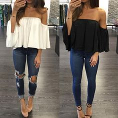 Off Shoulder 3/4 Sleeve Pleated Chiffon Blouse
