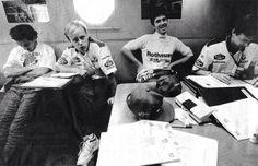 Ayrton Senna / David Brown / Damon Hill / John Russell (Williams-Renault). San Marino GP, Imola, Debrief. 1994.