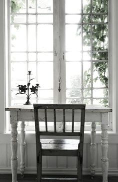 a writting desk in front of a window - love this chair