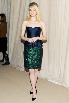 Emma Stone looking AMAZING in Burberry (S/S 2013) at the 2012 CFDA/Vogue Fashion Fund Awards.