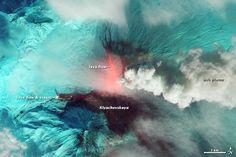 Klyuchevskaya Erupts. Located on Russia's Kamchatka Peninsula. Oct 20, 2013. NASA Earth Observatory images by Robert Simmon