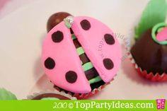Ladybug Cupcake Pops - add spots to pink fondant