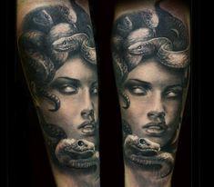 Black and grey Medusa portrait tattoo piece by Steffi Eff God Tattoos, Celtic Tattoos, Body Art Tattoos, Sleeve Tattoos, Clock Tattoos, Tattoo Symbols, Tatoos, Medusa Tattoo Design, Tattoo Designs