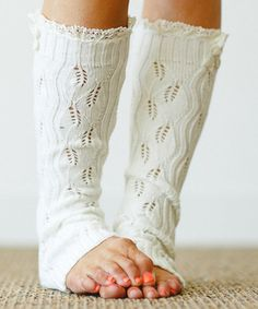 Another great find on #zulily! Ivory Open-Knit Lace-Trim Leg Warmers #zulilyfinds
