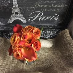 5 piece Silk Burnt Orange Rose & Real Touch Orange calla lily Wedding Package ** The Set is Made to Order and Delivery is approximately 3 weeks from payment