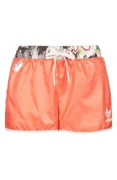 British styling. Topshop x adidas originals orange shorts