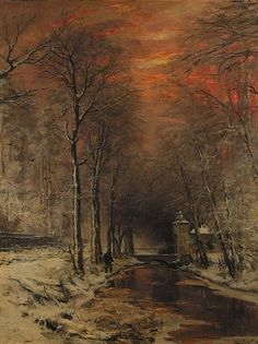 A tranquil winter forest at dusk, Louis Apol. Dutch (1850 - 1936). Wonderful contrast between frozen earth and fiery sky.
