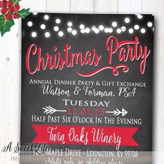 Rustic Christmas Dinner Party Invitation by ASweetLifeDesigns