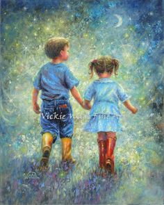 Twilight Walk Art Print big brother little sister holding hands moon stars, starry night, boy girl childrens wall art, Vickie Wade art 11x14 $26