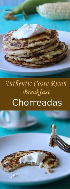 Chorreadas are traditional quick to make Costa Rican pancakes prepared with fresh corn which can be served for breakfast, for lunch or as a snack. #breakfast #vegetarian #196flavos