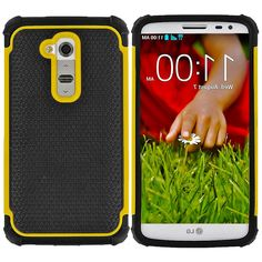 Amazon.com: myLife Black and Sunflower Yellow {Glamorous Series} 2 Layer Neo Hybrid Case for the for the LG G2 Smartphone (External Rubberized Hard Safe Shell Piece + Internal Soft Silicone Flexible Bumper Gel): Cell Phones & Accessories