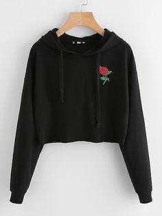 SweatyRocks Black Embroidered Rose Patch Active Wear Hoodie Long Sleeve Autumn Crop Top Women Streetwear Sporting Sweatshirt - black,m Teen Fashion Outfits, Trendy Outfits, Trendy Fashion, Cool Outfits, Girl Fashion, Ootd Fashion, Fashion Styles, Fashion Brands, Winter Fashion