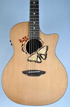 Luna Oracle Butterfly Folk Acoustic Electric Guitar