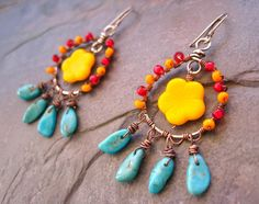 Southwest Wire Wrapped Turquoise Hoop Earrings by sunrisetreasures