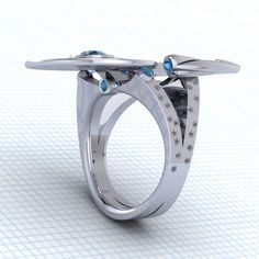 This needs to be an engagement + wedding band combo. The saucer must detach.... it must!  Star Trek Enterprise Boldly Going Somewhere Ring
