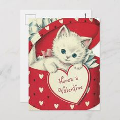 Retro Vintage Valentine Holiday cat postcard - I love remebering the old Valentine's Day Cards that we all gave one another. Cat Valentine, Valentine Day Love, Vintage Valentines, Valentine Day Cards, Valentine Poster, Valentines Greetings, Vintage Holiday, Valentine Gifts, Fun Valentines Day Ideas