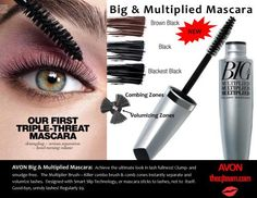 Avon Big & Multiplied Mascara Our first triple-threat mascara: detangling + serious seperation + head-turning volume! For the ultimate look in lash fullness. Featuring a killer combo of brushing and combing zones that instantly seperate and volumize lashes. Regularly $9. Shop online with FREE shipping with any $40 online Avon purchase.  #Avon #CJTeam #Sale #Mascara #New #C10 #BigAndMultiplied #Cosmetics  Shop Avon Cosmetics online @ www.thecjteam.com