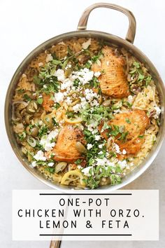 This recipe for one-pot baked creamy chicken and orzo is packed with all my favorite Mediterranean flavors like lemon, olives, fresh oregano, and feta cheese! Orzo Recipes, Roast Recipes, Turkey Recipes, Dinner Recipes, Cooking Recipes, Healthy Recipes, Healthy Snacks, Chicken Orzo, One Pot Chicken