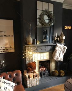 This evenings interior inspiration comes from such a beautifully festive styled mantel Living Room Inspiration, Interior Inspiration, Stiffkey Blue, Maximalist Interior, Interior Styling, Interior Design, Charity Shop, Dark Interiors, Black Walls