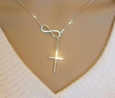 Large Sterling Silver Infinity Cross Necklace by GreatJewelry4All, $32.00