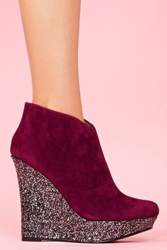 Glitter Wedge Boot - Wine in Shoes at Nasty Gal